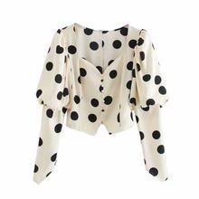 ZXQJ-camisas cortas de lunares para mujer, blusas de cuello cuadrado vintage, blusa con botones, blusa ceñida para mujer 2020