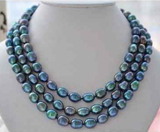 Superbe 8-9mm tahitian vert paon collier de perles baroques 50
