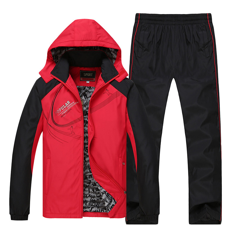 Men's Sportswear Sets Winter Fashion Print Tracksuit Men Fleece Thick Warm Two Piece Set Hooded Jacket + Pant Plus Size 5XL 6XL