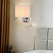 LED Bedside Reading Wall Lamp Light with USB Port Powstro Home Focus Reading Swing Arm Sconces Living Corridor Switches Holder(China)