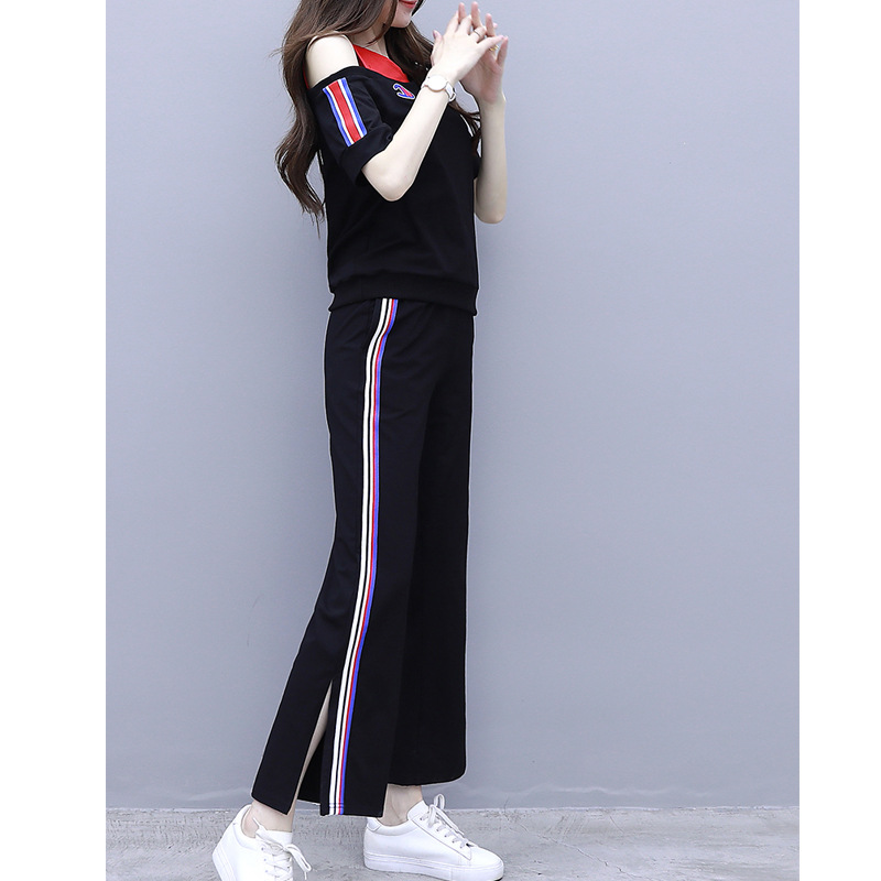 Sports WOMEN'S Suit 2019 Summer New Style Korean-style Loose-Fit Off-shoulder Tops Loose Pants Fashion Casual Two-Piece Set