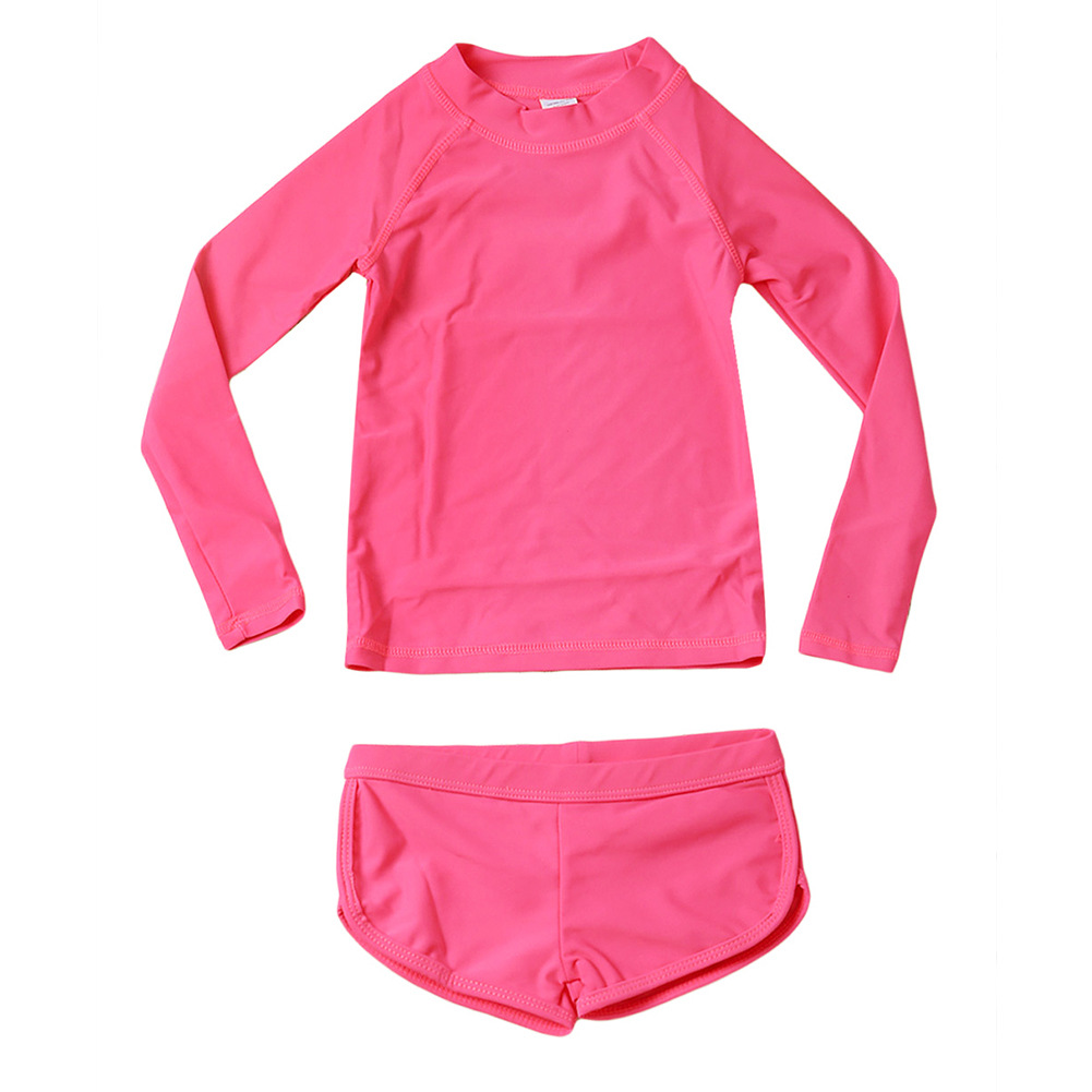 Children Two-piece Swimsuits GIRL'S Swimsuit Quick-Dry Cute GIRL'S Long Sleeve Sun-resistant Students Hot Springs Swimming TZ410