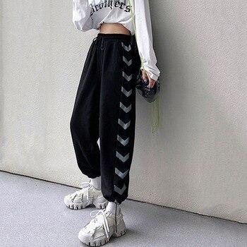 Favour Hip Hop Pants Fashion 2021 Korean Style Print Sweatpants Women High Waist Streetwear Casual Loose Gray Joggers