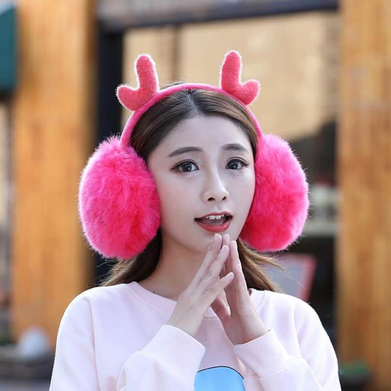 Calymel Unisex Winter Fur Headphones Warmer Earmuffs Cute Plush Adjustable Antlers Ears Ski Riding Warm Earmuff Dropshipping