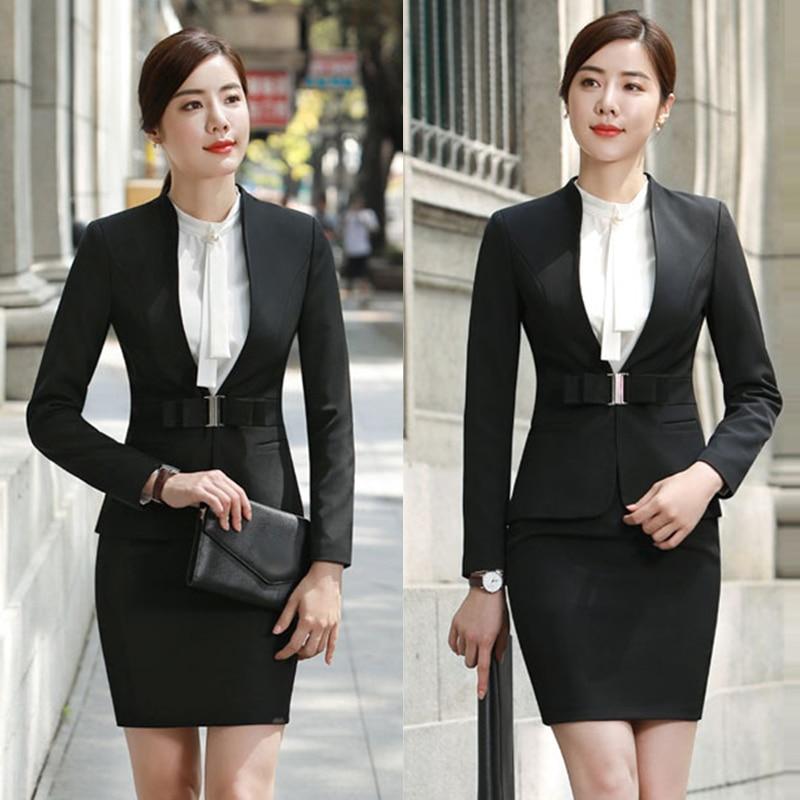 Wine Black Apricot Female Elegant Woman's Office Blazer Dress Jacket Suit Ladies Office Wear Sets Costumes Business Dresses