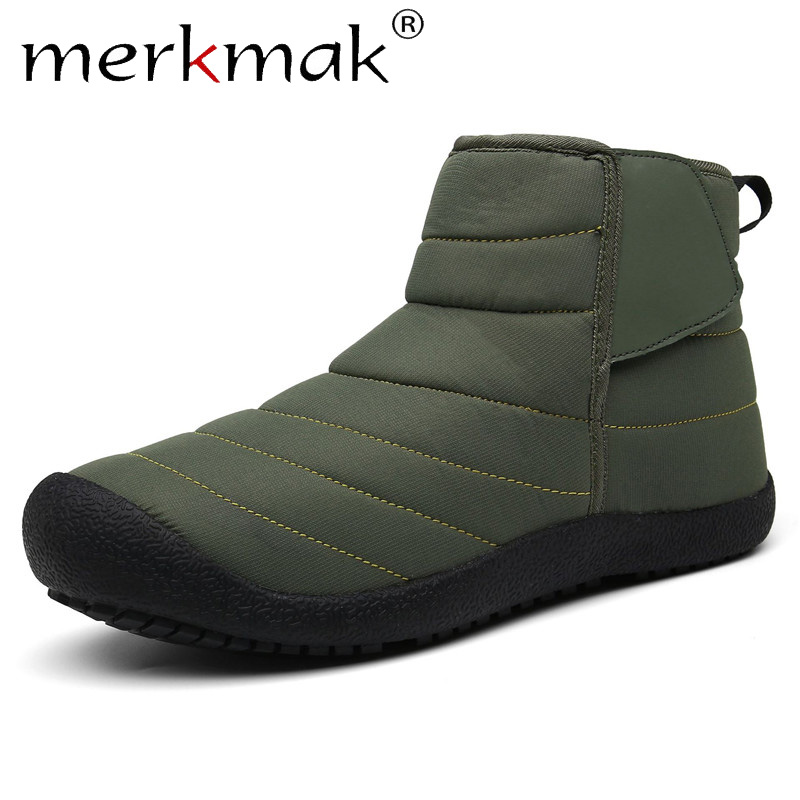 Merkmak Winter Men Boots Shoes Slip On Casual Ankle Waterproof Warm Snow Boots Comfortable Outdoor Non-slip Plus Size 36-47 Shoe