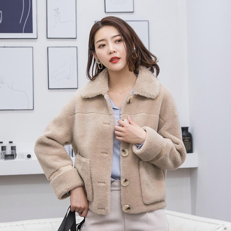 Coat Fur Women's Female Sheep Shearling Fur Korean Jacket Autumn Winter Jacket Women Real Wool Coats Abrigo Mujer MY3506 S