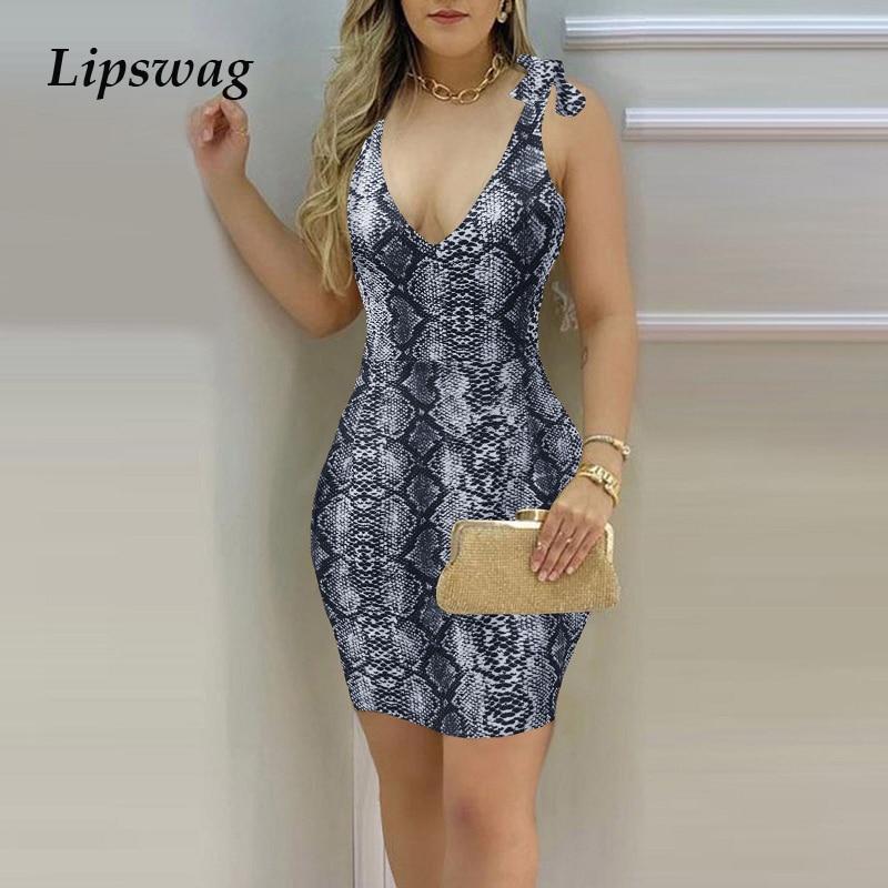 Sexy Snake Print Deep V Neck Mini Dress 2021 Summer Elegant Sleeveless Tie-up Strap Party Dresses Ladies Dress Fashion Vestidos