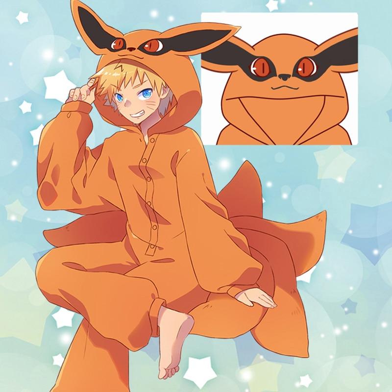 Anime Naruto Cosplay Costumes Kurama Pajamas Flannel Kyuubi Sleepwear Onesies Jumpsuit For Adults