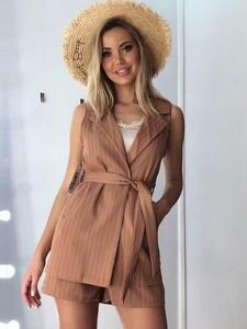 Jumpsuits Blazer Short Summer Streetwear Office Female Stripe High-Waist Women 2pcs Beavant
