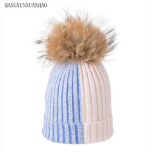 купить Knitted Rabbit hair Hat Real Raccoon Fur Pompom Hat Winter Women Hat beanie for women 2019 Soft Warm Female Fur Cap по цене 401.21 рублей