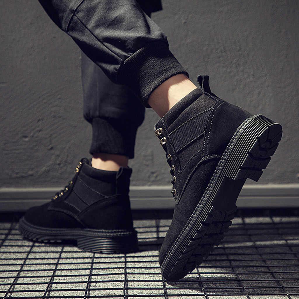 2019 ใหม่อังกฤษลมรองเท้าข้อเท้ารองเท้าฤดูใบไม้ร่วงฤดูหนาวรองเท้าผู้ชาย Retro ย้อนยุครองเท้าทำงานกลางแจ้งหิมะรองเท้าผู้ชาย