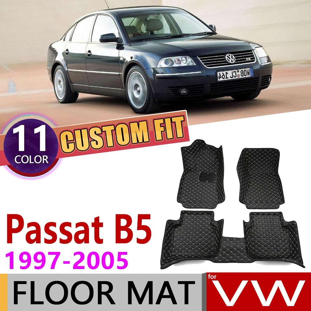 Custom Car Leather Floor Mats For Volkswagen VW Passat B5 B5.5 1997~2005 5 Seats Foot Pad Carpet Accessories 1998 1999 2000 2004