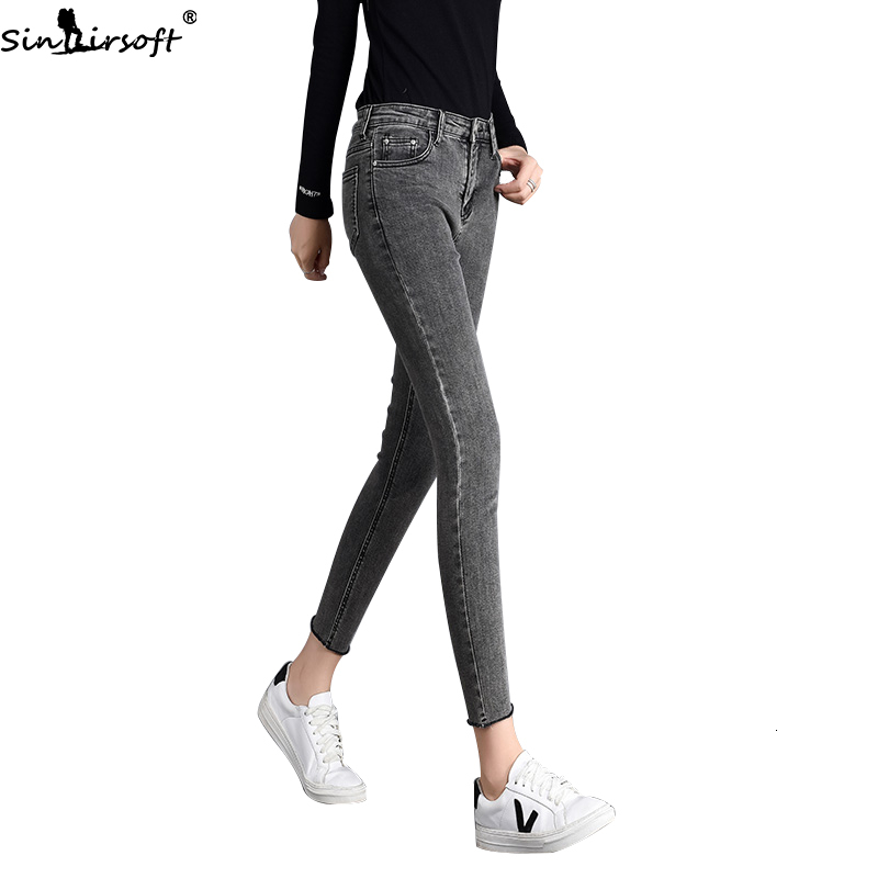 Autumn New Elastic Thin Skinny High Waist Smoke Gray Feet   Jeans   Women Fashion Trend Casual Wild Denim Trousers Womsn