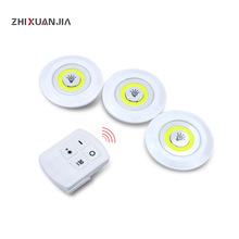 3W COB LED הנורה אור שלט רחוק סוללה מופעל LED מנורת ארונות אורות חדר שינה ארון בגדים בית תאורה