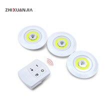 Ampoule COB LED 3W avec télécommande, LED à piles LED, lampe de placard, éclairage domestique, armoire ou chambre à coucher