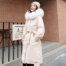 LUZUZI женская зимняя куртка с большим меховым капюшоном длинное зимнее пальто Женская парка с меховой подкладкой Зимнее пальто размера плюс