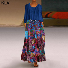 2019 Autumn Vintage Womens Maxi Dress O Neck Long Sleeve Baggy 2-Pieces Vestidos Print Floral Robe Plus Size 5XL