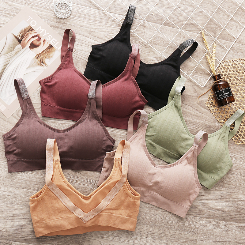 Backless Women Crop Tops Camisoles Tanks Female Underwear Sexy Deep V Lingerie For Woman Solid Color Massage Padded Camis Crops