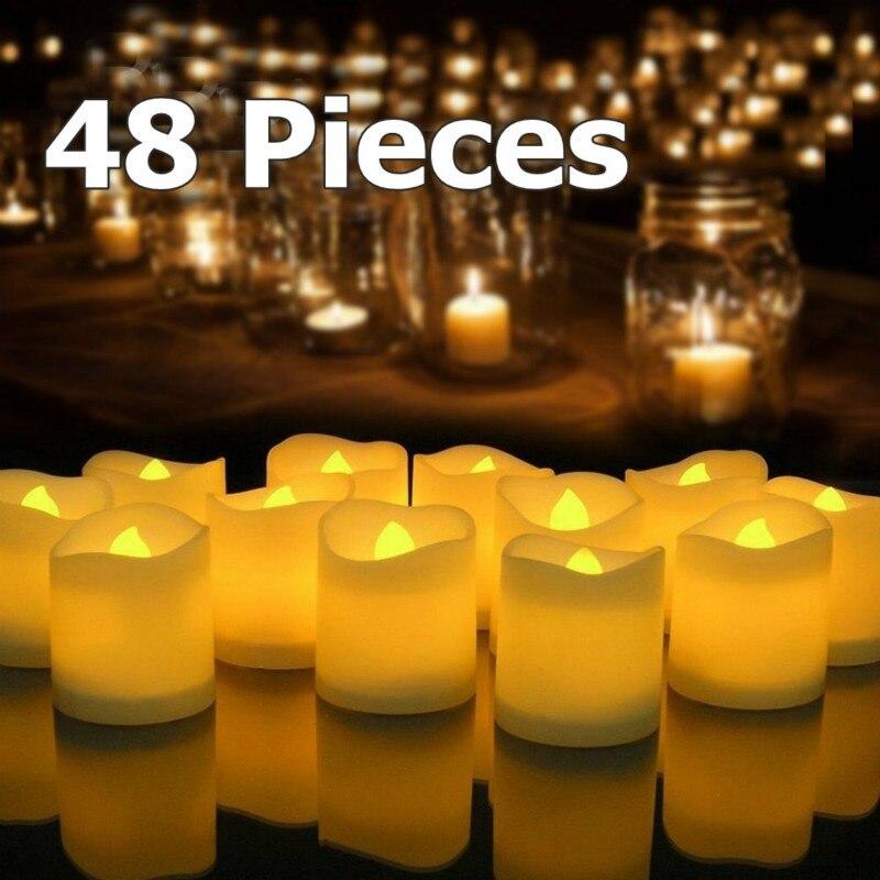 48PC LED sans flamme thé lumière bougie chauffe-plat décoration de mariage + batterie