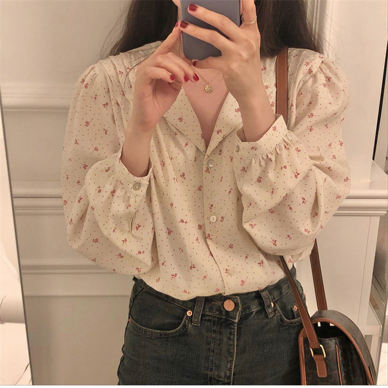 Hzirip Hot Women Brief Print Roses Sweet New 2020 Streetwear Office Lady Chic Korean All Match Cute Shirts Fashion Blouses