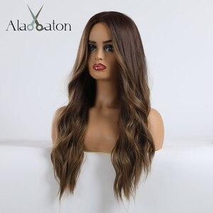 Image 5 - אלן איטון Ombre כהה חום בלונדיני ארוך גלי תסרוקת פאות עבור נשים טבעי גל סינטטי שיער סיבי טמפרטורה גבוהה קוספליי