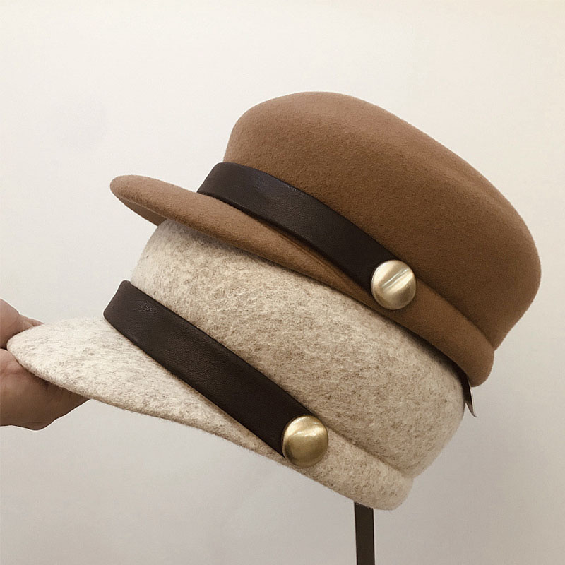 NEW Fashion Wool Felt Cap For Women Warm Wool Winter Hat Visor Beret Newsboy Cap Beige Black Camel Casual Ladies Flat Cabbie Hat