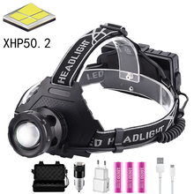 100000LM XHP50.2 most powerful headlamp Fishing Camping Zoom USB Rechargeable 5 models Torch Use 3*18650 batteries