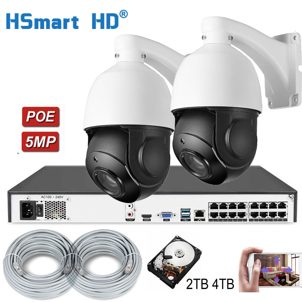5MP 30xzoom PTZ IP POE Camera Outdoor H.265 16CH 5MP PoE NVR ONVIF Security Network Video Recorder H.265 System Add 4TB HDD