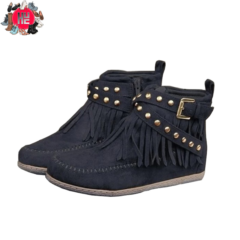 Fringe Moccasin Boots Retro Studded Zipper Buckle Strap Moccasin Boots Timberland Boots Ankle Booties Winter Boots Women image