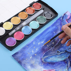 Vip-Link Watercolor-Paint-Set Water-Brush Metallic Customers-12color for Special