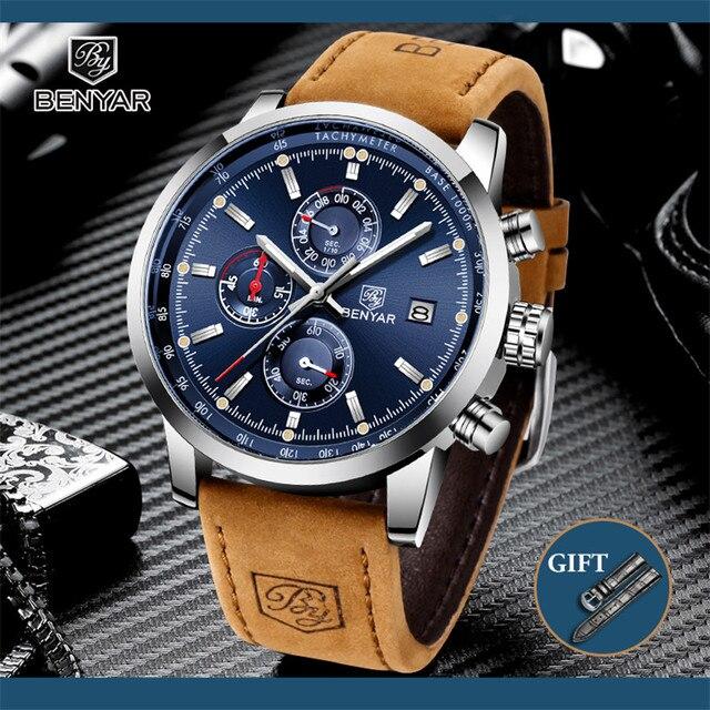 Benyar 2020 Nieuwe Blauwe Mannen Horloges Top Merk Luxe Waterdichte Sport Quartz Chronograaf Militaire Horloge Mannen Klok Relogio Masculino