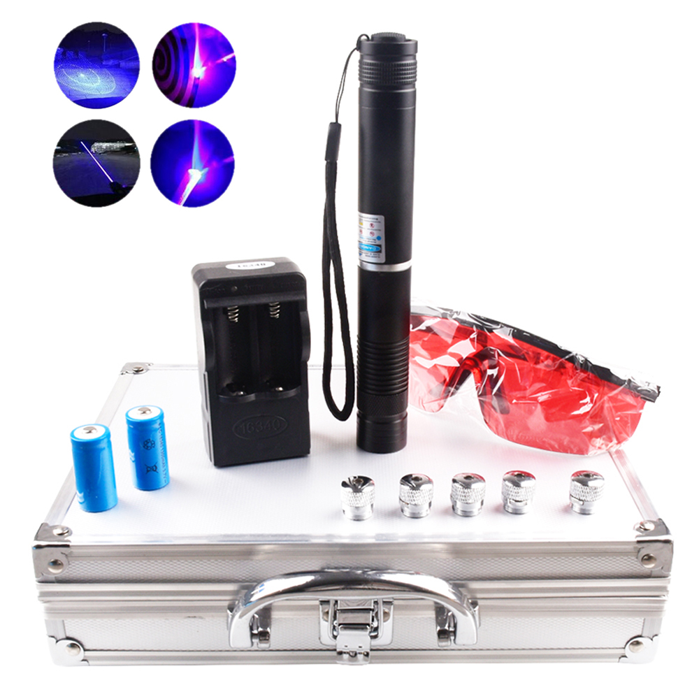 Heat! High power and most powerful combustion laser 450nm focusable blue laser flashlight burning matches / cigarettes / candles