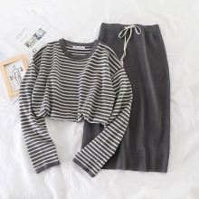 Mooirue Autumn Winter Kintting Women Two Piece Outfits Striped Long Sleeve Tops High Waist Slim Skirt Vintage For