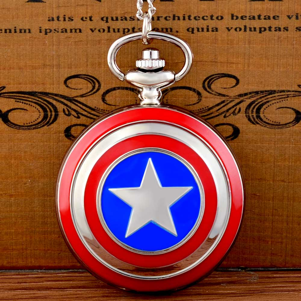 New Fashion  Captain America Icon Quartz Pocket Watch Chains Vintage Men Women Silver Pendant Necklace Clock Gift