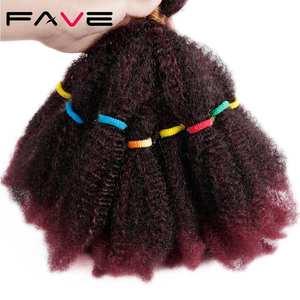 Hair-Afro Short Braids Crochet Synthetic-Hair Kinky Bulk American Curly FAVE for Women