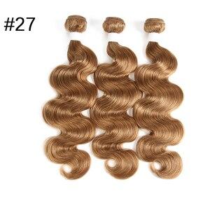 """Image 5 - Onda do corpo brasileiro pré colorido extensão do cabelo humano loira 613/#33/#30/#27/# 99j/# burg 10 """" 26"""" feixes de tecer cabelo humano remy"""