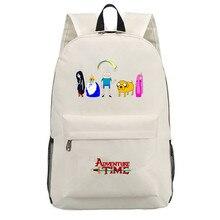 Холщовый Рюкзак Adventure Time с принтом, школьная сумка на плечо, дорожная сумка, рюкзак для мальчиков и девочек, сумка для ноутбука