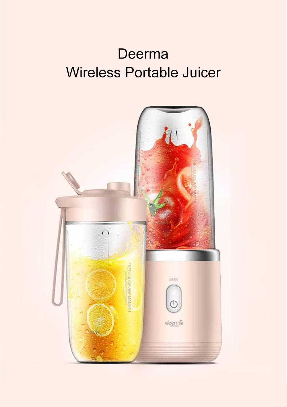 H2637ecb62c8945559f9abb3fea9bdb3bV Xiaomi Deerma Portable Blender Electric Juicer 400ML Wireless Automatic Multipurpose USB Rechargable Mini Juice Cup Cut Mixer