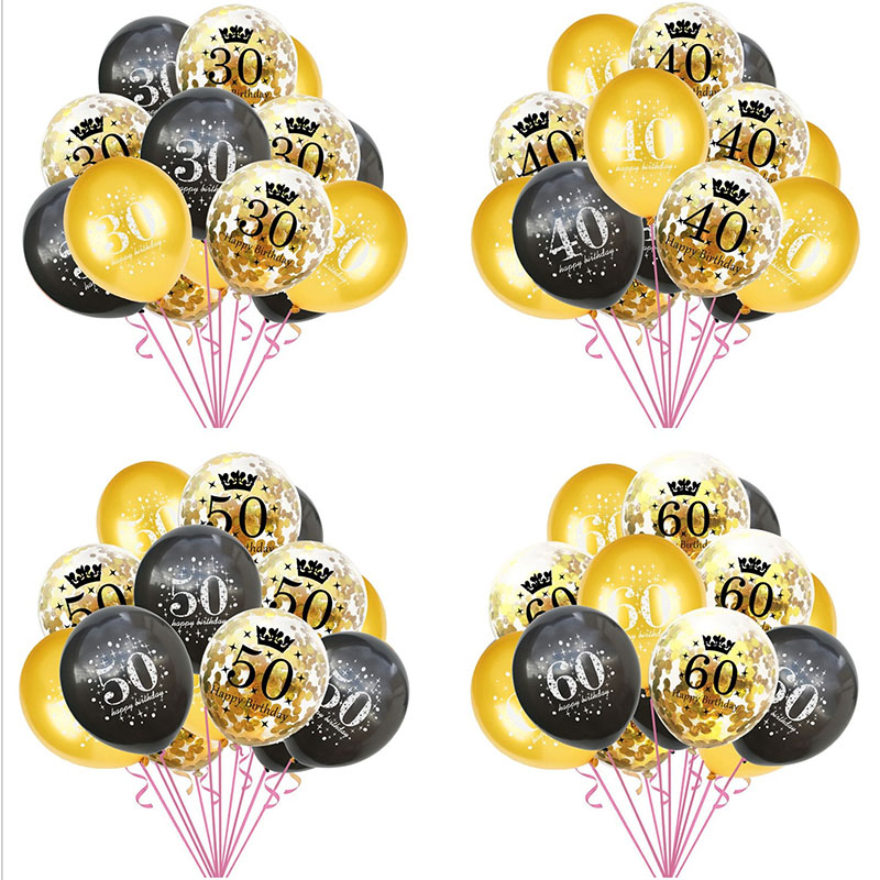 18th Birthday Party Gold Balloon Confetti Balloons Latex Balloon Printed with Happy Birthday and Number of 16 30 <font><b>40</b></font> <font><b>50</b></font> <font><b>60</b></font> 70 80 image