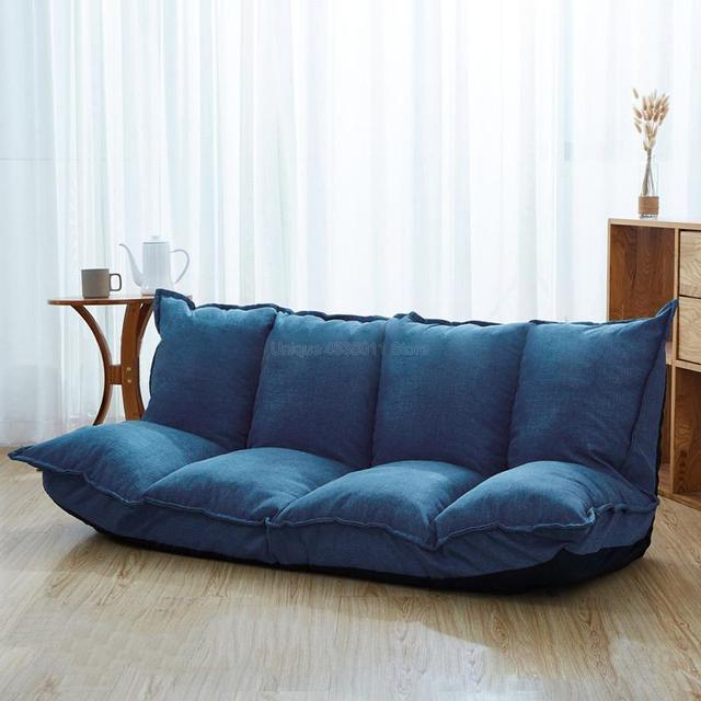 Linen Fabric Upholstery Adjustable Floor Sofa Bed Lounge Sofa Bed Floor Lazy Man Couch Living Room Furniture Video Gaming Sofa 2
