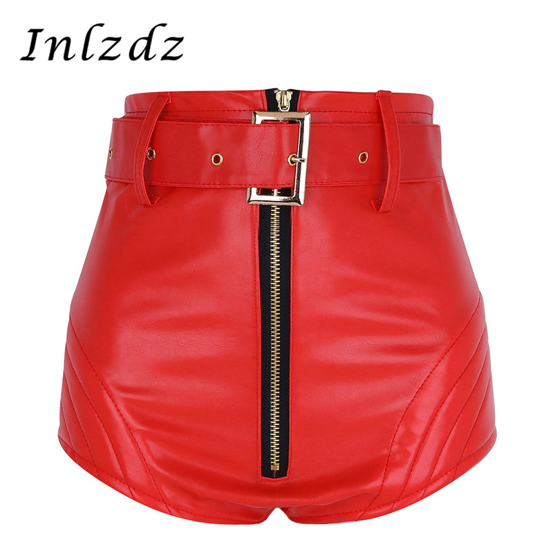 Women's Rave Clothes Pole Dance Shorts Wet Look Leather Front Zipper High Waisted Bottoms With Belt Pole Dance Booty Rave Shorts