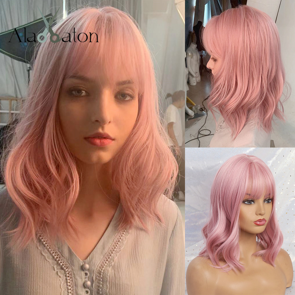 ALAN EATON  Cute Lolita Pink Curly Medium Anime Lady Sweet Bangs Highlight Synthetic Hair Cosplay Wigs Heat Resistant Daily Wigs