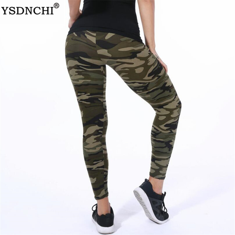 YSDNCHI Women Leggings High Elastic Skinny Camouflage Legging Slim Army Green Jegging Fitness Leggins Gym Sport Plus Size Pants