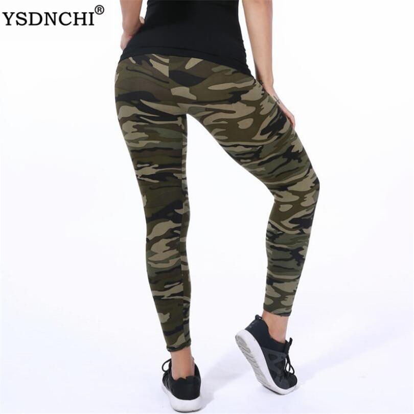 YSDNCHI Women   Leggings   High Elastic Skinny Camouflage   Legging   Slim Army Green Jegging Fitness Leggins Gym Sport Plus Size Pants