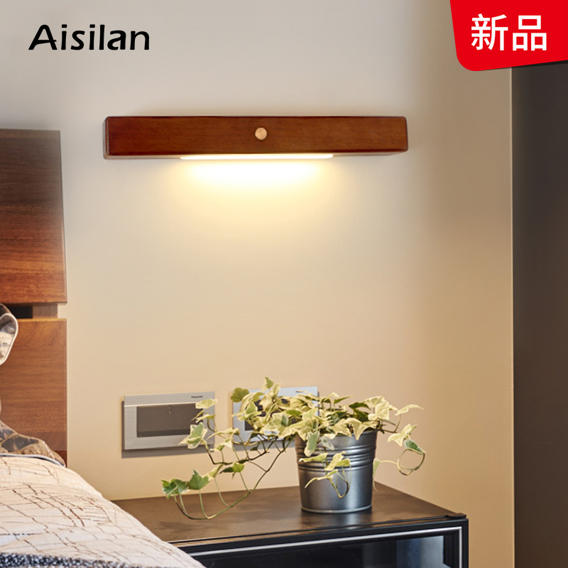 Aisilan <font><b>Nordic</b></font> Wooden <font><b>Wall</b></font> Lights for living room Bedroom Corridor reading mirror art work <font><b>Wall</b></font> <font><b>lamp</b></font> for home 90-260V image