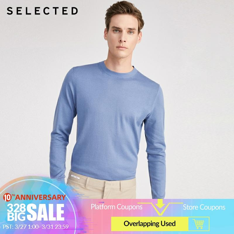 SELECTED Men's Cotton Round Neckline Pure Color Knit S|420124502