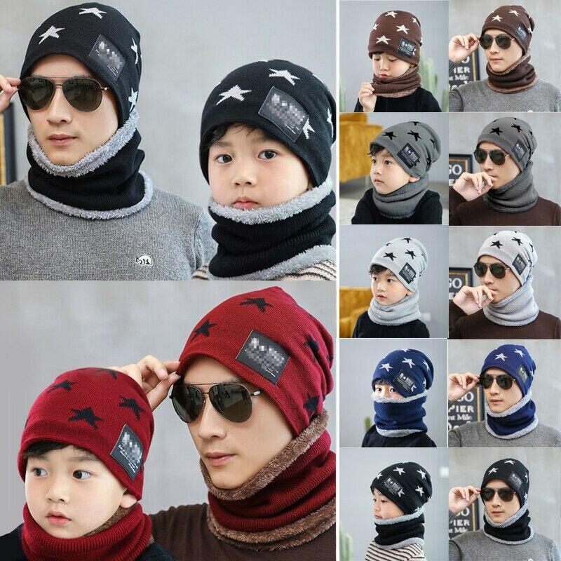 Fashion Men's Winter Hat Scarf 2Pcs Set Adult Kids Soft Knitted Scarf Skullies Beanies Women Men Unisex Neck Warmer Bone Bonnet