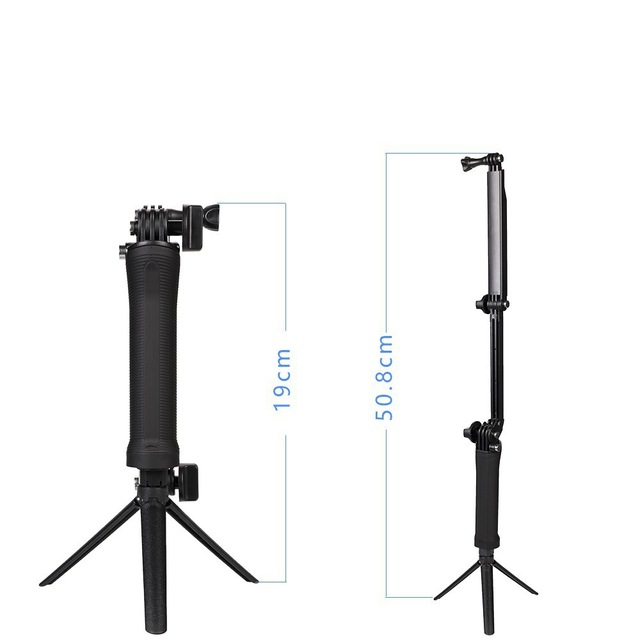 3 Way Handheld Selfie Stick For Gopro Mini Foldable Extendable Camera tripod stand Holder Portable Waterproof High Quality AT