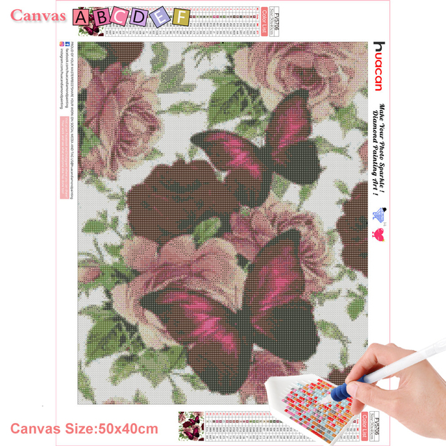 Huacan DIY Diamond Painting Butterfly And Flower 5D Full Square Rhinestone Diamond Embroidery Mosaic Cross Stitch